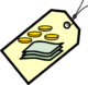 cost icon - image of tag with picture of coins and paper notes